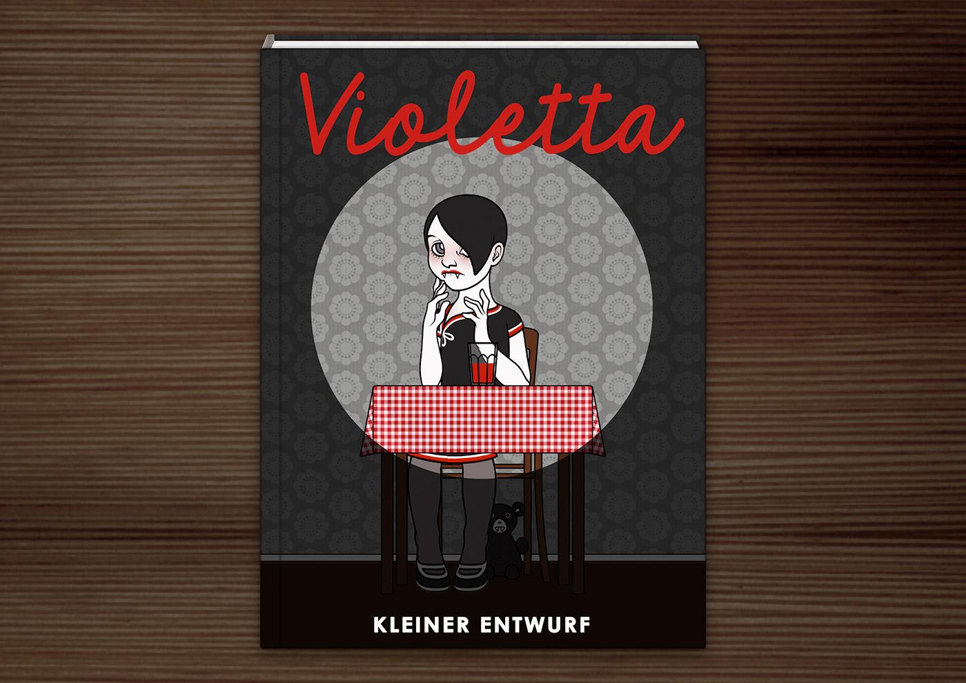 Mockup des Umschlags für das Jugendbuch Violetta mit einer Zeichnung von Vampirmädchen beim Trinken von Blut bei Mitternacht